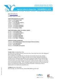Agenda Cultural e Desportiva. novembro 2012 - Beja Digital