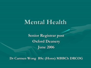 Mental Health - Oxford Deanery