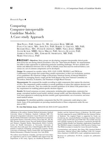 Comparing Computer-interpretable Guideline Models: A Case-study ...