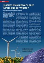 Mobiles Biokraftwerk oder Strom aus der Wüste? - Weber Consulting