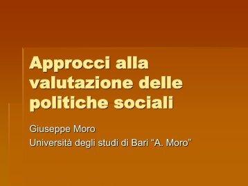G. Moro, Valutazione delle politiche sociali. - Lumsa