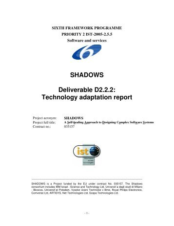 SHADOWS Deliverable D2.2.2: Technology ... - IBM Haifa Labs