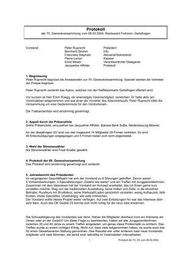 Protokoll der GV vom 08.03.04 - Gewerbeverein beider Gerlafingen