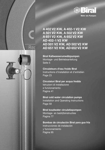 A 402 V2 KW, A 402-1 V2 KW A 501 V2 KW, A 502 V2 KW A ... - Biral