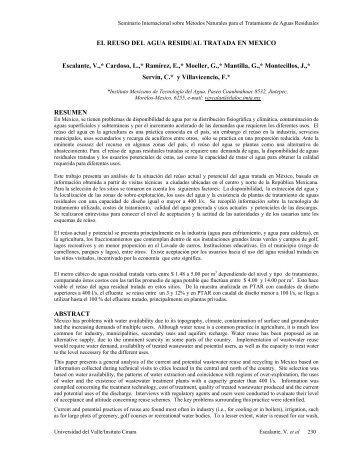 Reuso del agua residual tratada en México - BVSDE
