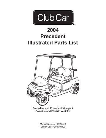 Golf Car Precedent Part Manual