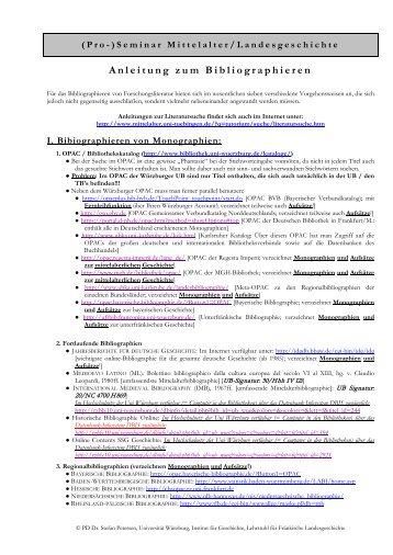 Anleitung zum Bibliographieren - Institut für Geschichte - Universität ...