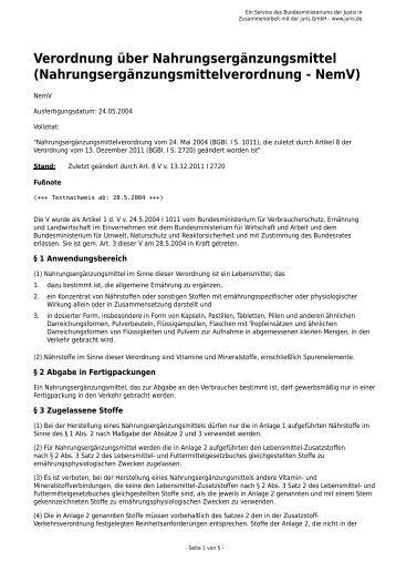 Verordnung über Nahrungsergänzungsmittel - Gesetze im Internet