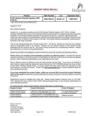 0.9% Sodium Chloride Injection, USP, 100 mL – Recall - Hospira