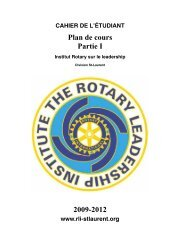 Plan de cours Partie I 2009-2012 - Rotary Leadership Institute