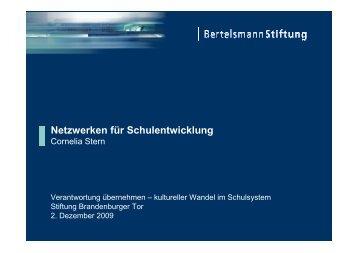 Netzwerken für Schulentwicklung - Stiftung Brandenburger Tor