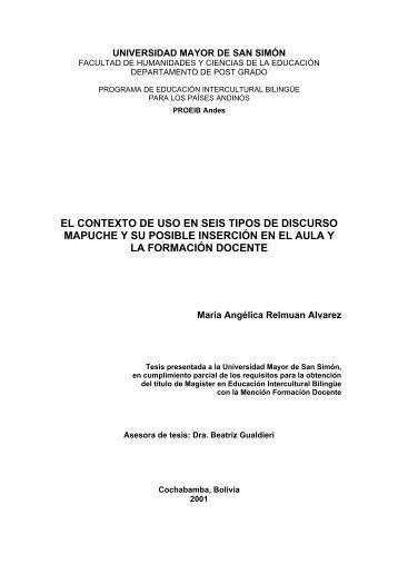 el contexto de uso en seis tipos de discurso mapuche y su posible ...