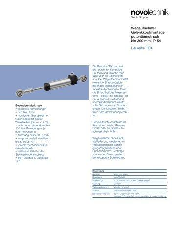 Wegaufnehmer Gelenkkopfmontage potentiometrisch ... - Novotechnik
