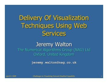 Talk slides: Delivery Of Visualization Techniques Using Web Services