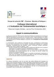 Colloque international « L'évaluation de l'événementiel touristique ...