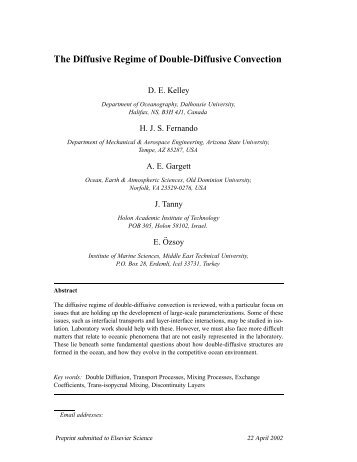 The Diffusive Regime of Double-Diffusive Convection - Physical ...