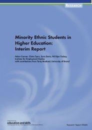 Minority Ethnic Students in Higher Education: Interim Report