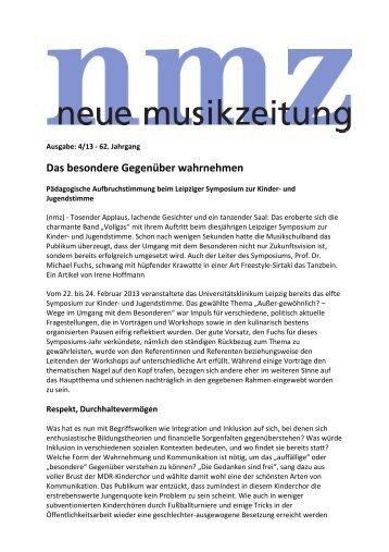 Neue Musikzeitung 4/2013 - Leipziger Symposien zur Kinder- und ...