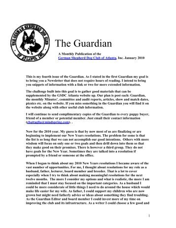 January Guardian - German Shepherd Dog Club of Atlanta