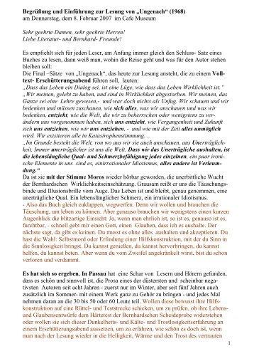 """Begrüßung und Einführung zur Lesung von """"Ungenach"""" (1968) am ..."""