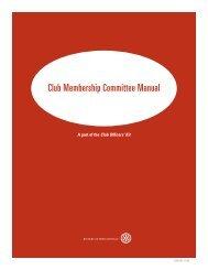 Club Membership Committee Manual - ClubRunner