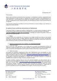 30 Septembre 2011 Chers parents, Dans le but de renforcer la ...