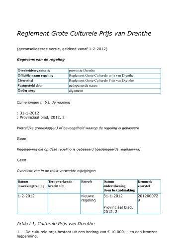 Reglement Grote Culturele Prijs van Drenthe - Provincie Drenthe