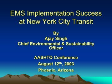 EMS Implementation Success at New York City Transit - Center for ...