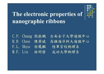 The electronic properties of nanographie ribbons