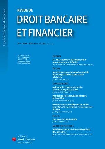DROIT BANCAIRE ET FINANCIER - LexisNexis