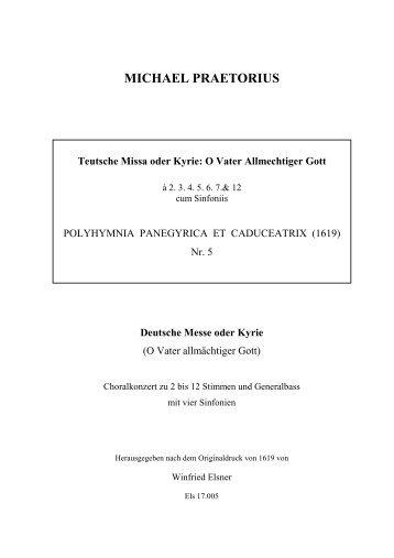 Teutsche Missa oder Kyrie - Michael Praetorius