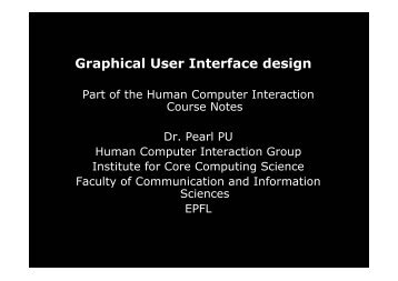 Graphical User Interface design - HCI - EPFL