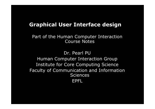 Graphical User Interface Design Hci Epfl