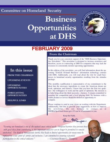 February 2009-DHS Business Opportunities - Committee on ...