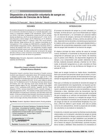 Revista Salus Vol 13_No.indd - Portal de Revistas Electrónicas ...