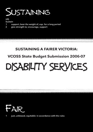 DISABILITY SERVICES - Victorian Council of Social Service