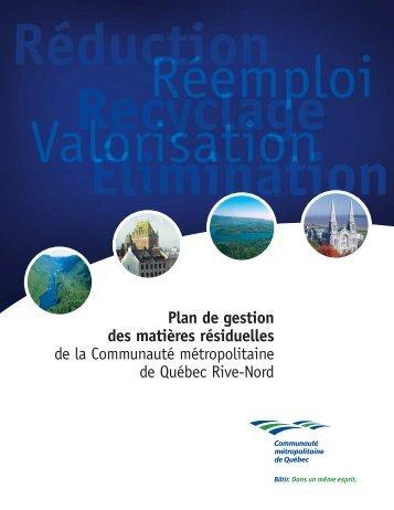 Communauté métropolitaine de Québec (CMQ) - Recyc-Québec