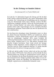 In Der Zeitung Vor Hundert Jahren - Geschichtsverein für das ...