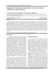 Utilization of Various Dietary Carbohydrate Levels by the Freshwater ...