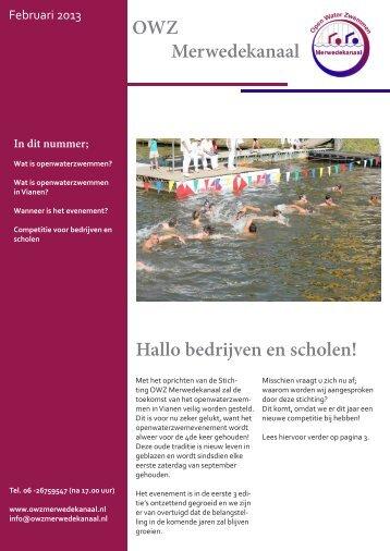 OWZ Merwedekanaal Hallo bedrijven en scholen! - Open water ...