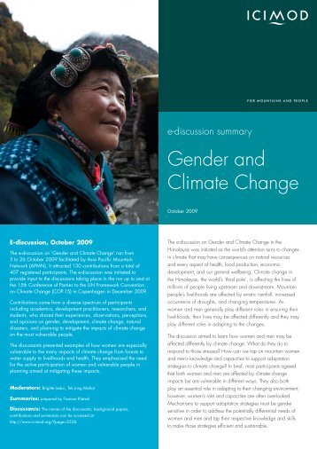 E-Discussion Summary Gender and Climate Change - Gender Climate