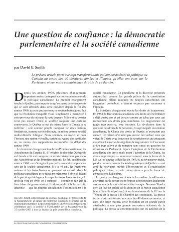 Une question de confiance - Revue parlementaire canadienne