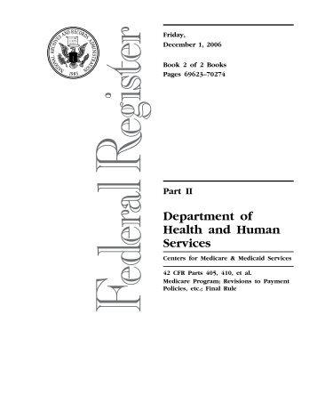December 1, 2006, Final Rule, Medicare Program