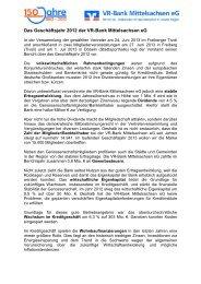 Das Geschäftsjahr 2012 der VR-Bank Mittelsachsen eG