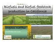 Biofuels and biofuel feedstock production in California - Agricultural ...