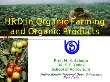 HRD in Organic Farming and Organic Products