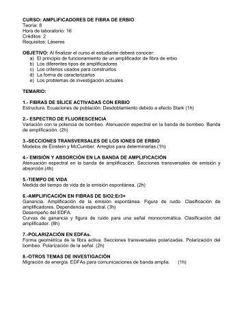 CURSO: AMPLIFICADORES DE FIBRA DE ERBIO Teoría ... - Cicese