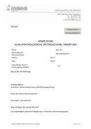 anmeldung schulpsychologische untersuchung / beratung