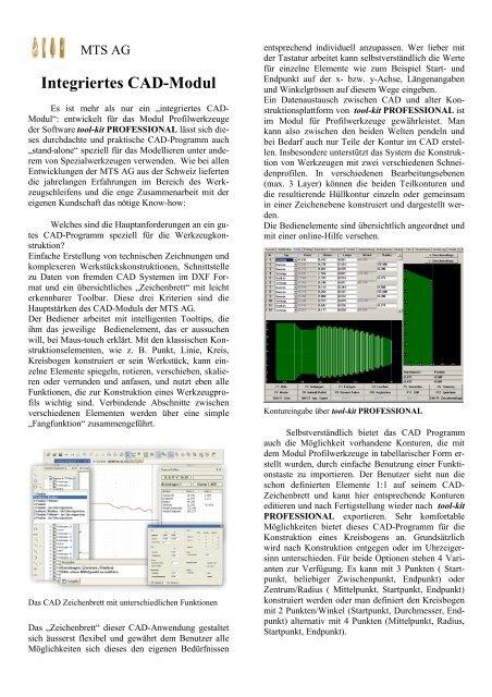 Integriertes CAD-Modul - MTS AG
