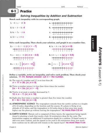Glencoe algebra 2 workbook answer key chapter 1